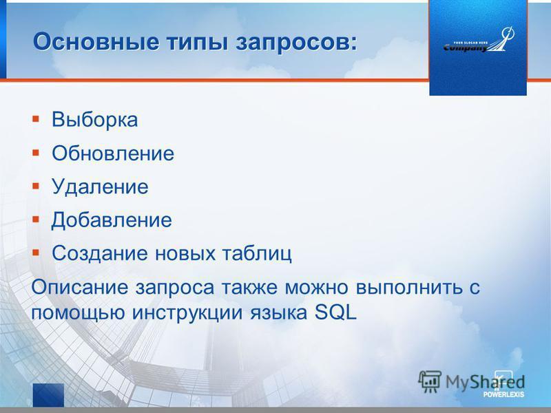 Основные типы запросов: Выборка Обновление Удаление Добавление Создание новых таблиц Описание запроса также можно выполнить с помощью инструкции языка SQL