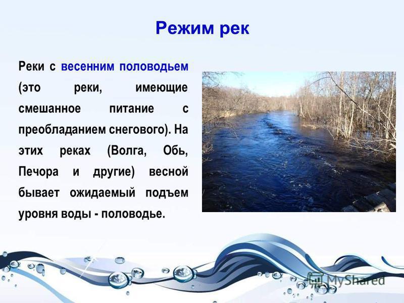 Режим рек Реки с весенним половодьем (это реки, имеющие смешанное питание с преобладанием снегового). На этих реках (Волга, Обь, Печора и другие) весной бывает ожидаемый подъем уровня воды - половодье.