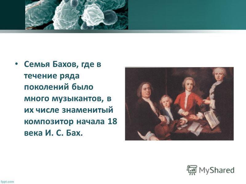 Семья Бахов, где в течение ряда поколений было много музыкантов, в их числе знаменитый композитор начала 18 века И. С. Бах.