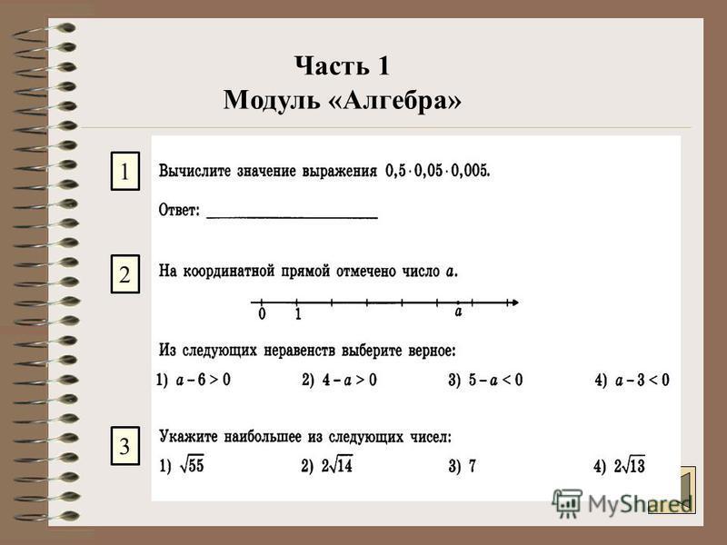 Часть 1 Модуль «Алгебра» 1 2 3