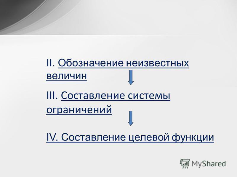 II. Обозначение неизвестных величин IV. Составление целевой функции III. Составление системы ограничений