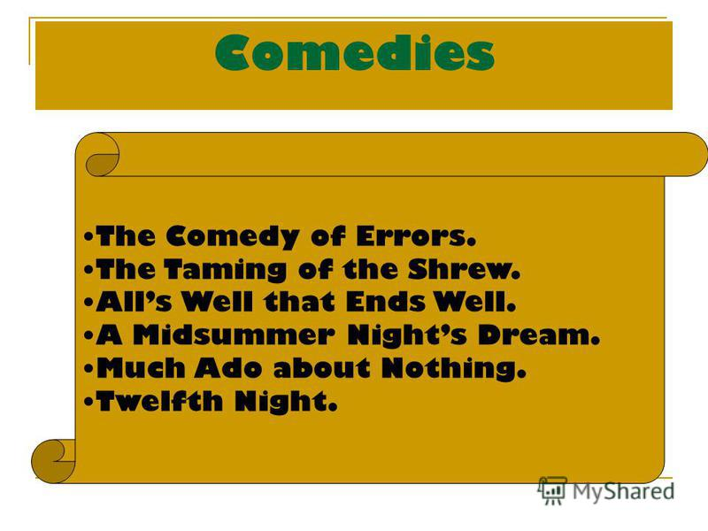 Comedies The Comedy of Errors. The Taming of the Shrew. Alls Well that Ends Well. A Midsummer Nights Dream. Much Ado about Nothing. Twelfth Night.