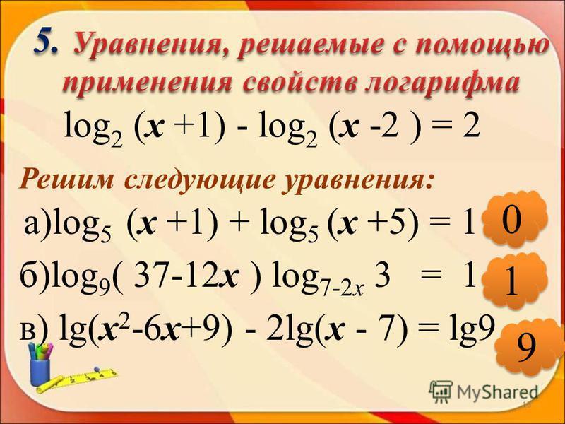 13 log 2 (х +1) - log 2 (х -2 ) = 2 Решим следующие уравнения: а)log 5 (х +1) + log 5 (х +5) = 1 б)log 9 ( 37-12 х ) log 7-2 х 3 = 1 в) lg(х 2 -6 х+9) - 2lg(х - 7) = lg9 0 0 1 1 9 9