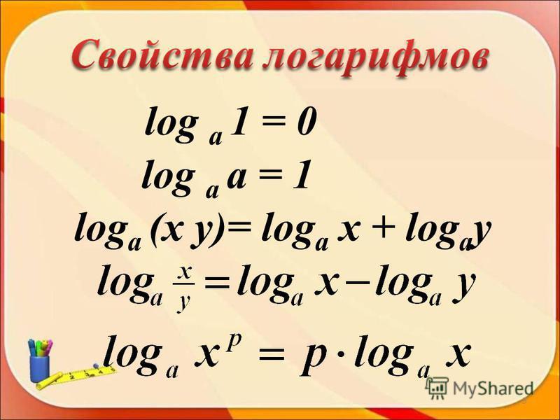 log a 1 = 0 log a a = 1 log a (x y)= log a x + log a y 3