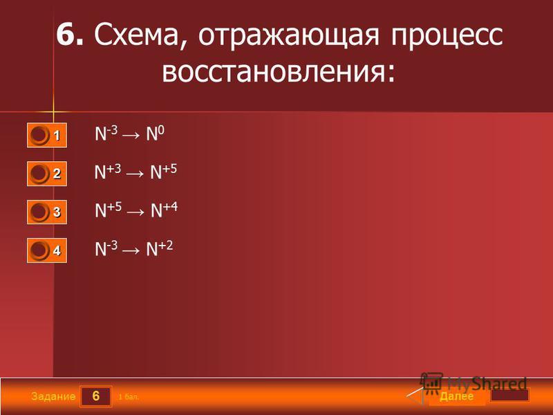 6 Задание 6. Схема, отражающая процесс восстановления: N -3 N 0 N +3 N +5 N +5 N +4 N -3 N +2 Далее 1 бал. 1111 0 2222 0 3333 0 4444 0