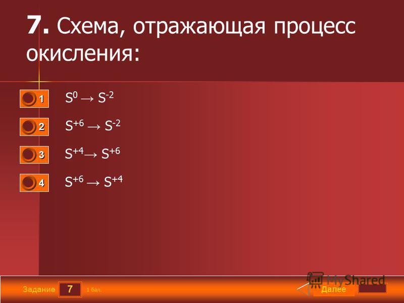 7 Задание 7. Схема, отражающая процесс окисления: S 0 S -2 S +6 S -2 S +4 S +6 S +6 S +4 Далее 1 бал. 1111 0 2222 0 3333 0 4444 0