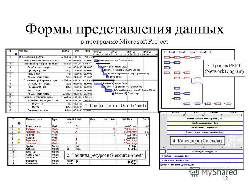 12 Формы представления данных в программе Microsoft Project 1. График Ганта (Gantt Chart) 2. Таблица ресурсоввв (Resource Sheet) 3. График PERT (Network Diagram) 4. Календарь (Calendar)
