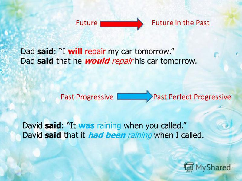 Future Future in the Past Dad said: I will repair my car tomorrow. Dad said that he would repair his car tomorrow. Past Progressive Past Perfect Progressive David said: It was raining when you called. David said that it had been raining when I called