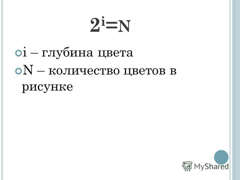 2i=N2i=N i – глубина цвета N – количество цветов в рисунке