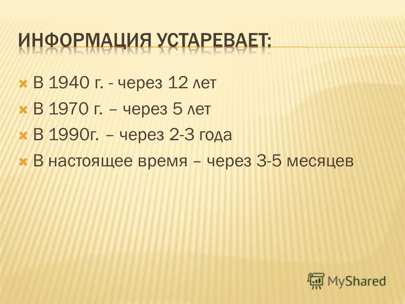 В 1940 г. - через 12 лет В 1970 г. – через 5 лет В 1990 г. – через 2-3 года В настоящее время – через 3-5 месяцев