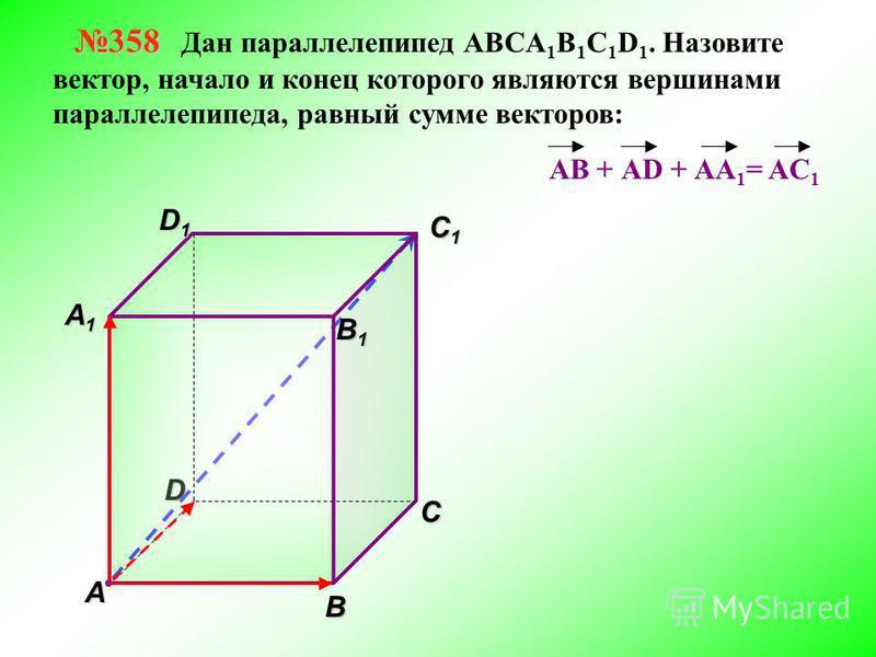 DВ A С B 1 B 1 C1C1C1C1 D1D1D1D1 358 358 Дан параллелепипед АВСA 1 B 1 C 1 D 1. Назовите вектор, начало и конец которого являются вершинами параллелепипеда, равный сумме векторов: АВ + АD + АА 1 A1A1A1A1 = AC 1
