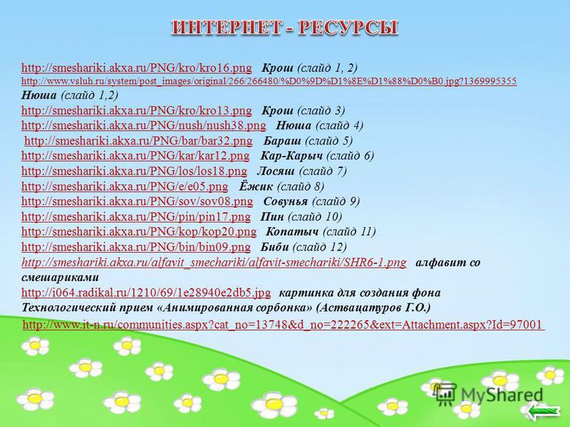 http://smeshariki.akxa.ru/PNG/kro/kro16.pnghttp://smeshariki.akxa.ru/PNG/kro/kro16. png Крош (слайд 1, 2) http://www.vsluh.ru/system/post_images/original/266/266480/%D0%9D%D1%8E%D1%88%D0%B0.jpg?1369995355 http://www.vsluh.ru/system/post_images/origin