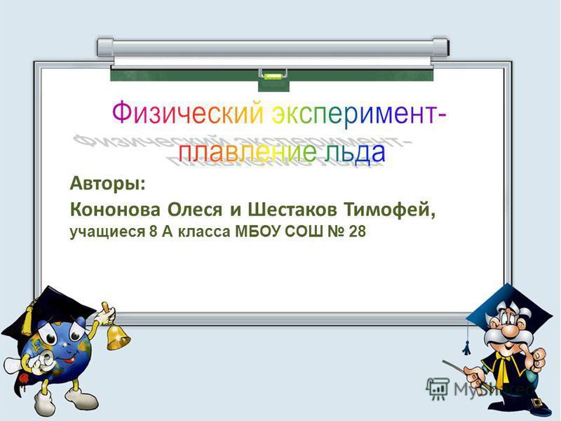 Авторы: Кононова Олеся и Шестаков Тимофей, учащиеся 8 А класса МБОУ СОШ 28