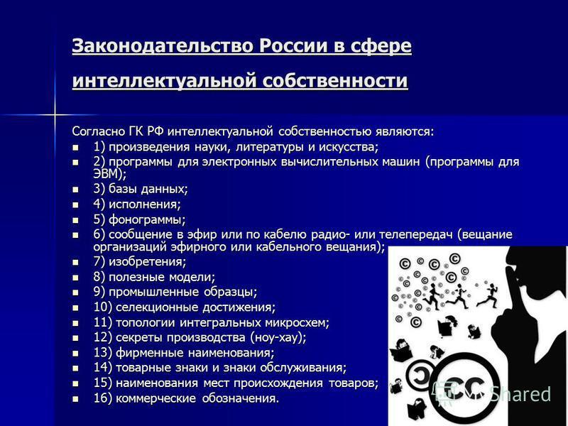 Законодательство России в сфере интеллектуальной собственности Согласно ГК РФ интеллектуальной собственностью являются: 1) произведения науки, литературы и искусства; 1) произведения науки, литературы и искусства; 2) программы для электронных вычисли