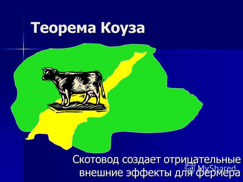 Теорема Коуза Скотовод создает отрицательные внешние эффекты для фермера