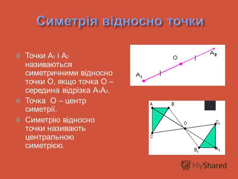 Точки А 1 і А 2 називаються симетричними відносно точки О, якщо точка О – середина відрізка А 1 А 2. Точка О – центр симетрії. Симетрію відносно точки називають центральною симетрією.