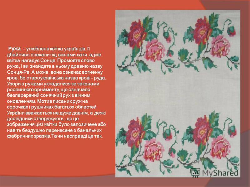 Ружа - улюблена квітка українців, її дбайливо плекали під вікнами хати, адже квітка нагадує Сонце. Промовте слово ружа, і ви знайдете в ньому древню назву Сонця-Ра. А може, вона означає вогненну кров, бо староукраїнська назва крові - руда. Узори з ру