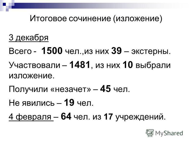 Итоговое сочинение (изложение) 3 декабря Всего - 1500 чел.,из них 39 – экстерны. Участвовали – 1481, из них 10 выбрали изложение. Получили «незачет» – 45 чел. Не явились – 19 чел. 4 февраля – 64 чел. из 17 учреждений.