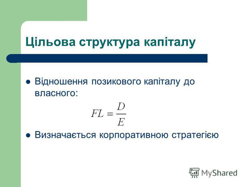 Цільова структура капіталу Відношення позикового капіталу до власного: Визначається корпоративною стратегією