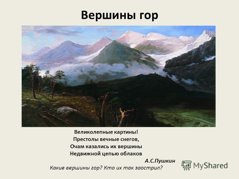 Вершина горы Ведь там бесприютность холодных вершин, Безумство ветров, грозность льдистых пустынь… Есть ли растения и животные на этих вершинах? Почему? Какой здесь снег ?