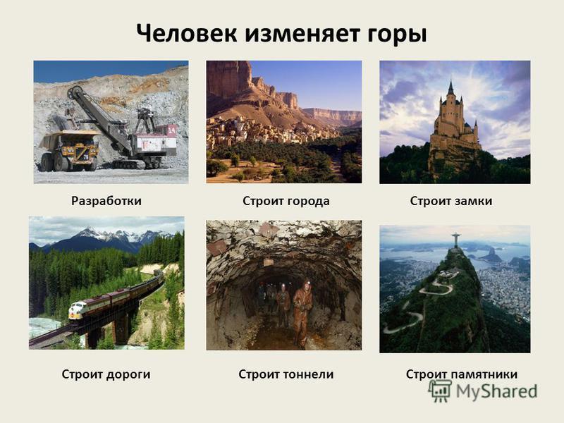Что человек получает от гор? Удивительная красота Чистый воздух, вода Природные ископаемые Животные Строительный материал