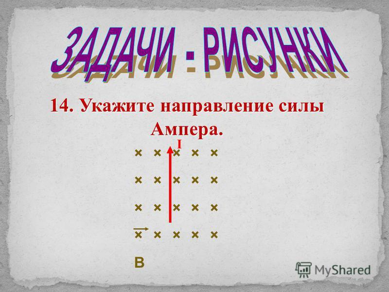 × × × × × B 14. Укажите направление силы Ампера. I