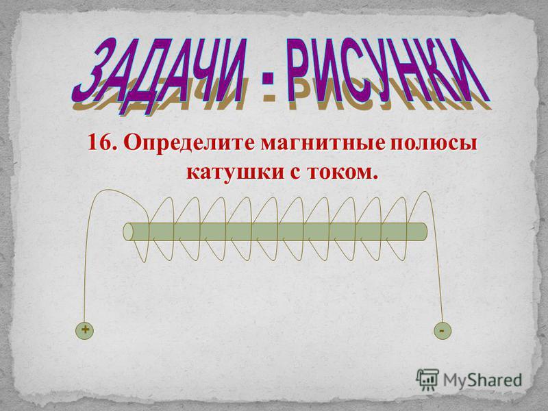 16. Определите магнитные полюсы катушки с током. +-