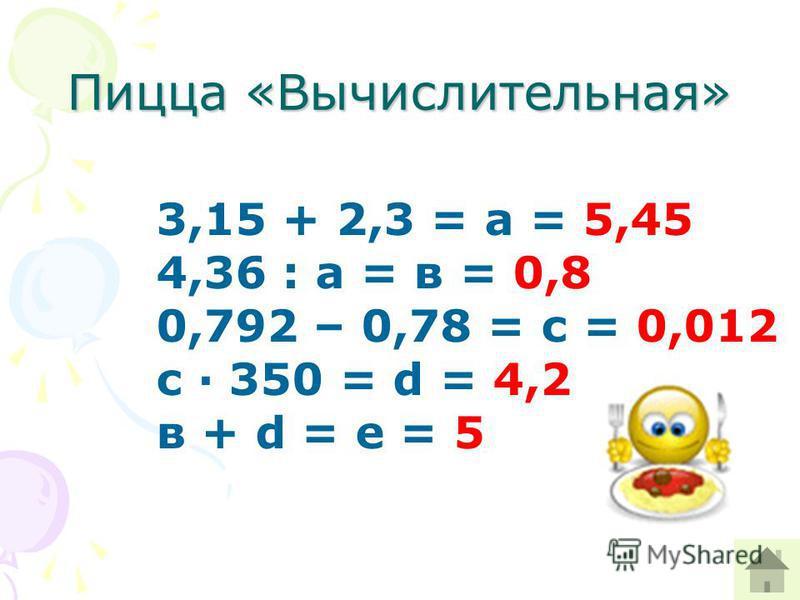 Пицца «Вычислительная» 3,15 + 2,3 = а = 5,45 4,36 : а = в = 0,8 0,792 – 0,78 = с = 0,012 с · 350 = d = 4,2 в + d = е = 5