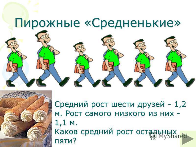 Пирожные «Средненькие» Средний рост шести друзей - 1,2 м. Рост самого низкого из них - 1,1 м. Каков средний рост остальных пяти?