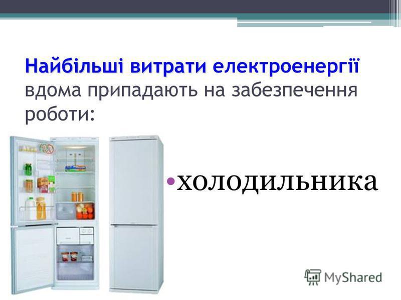 холодильника Найбільшівитрати Найбільші витрати електроенергії вдома припадають на забезпечення роботи: