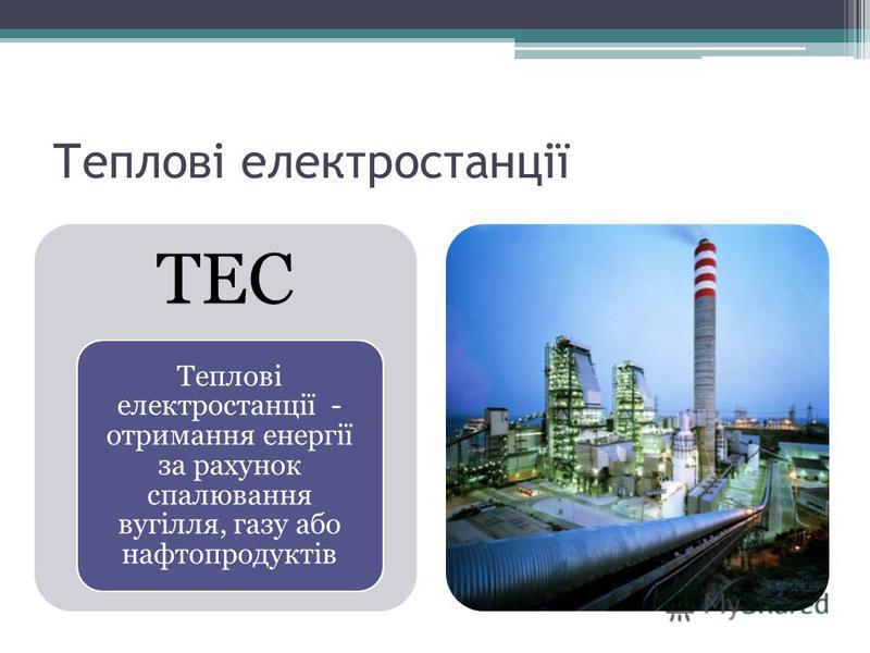 Теплові електростанції ТЕС Теплові електростанції - отримання енергії за рахунок спалювання вугілля, газу або нафтопродуктів
