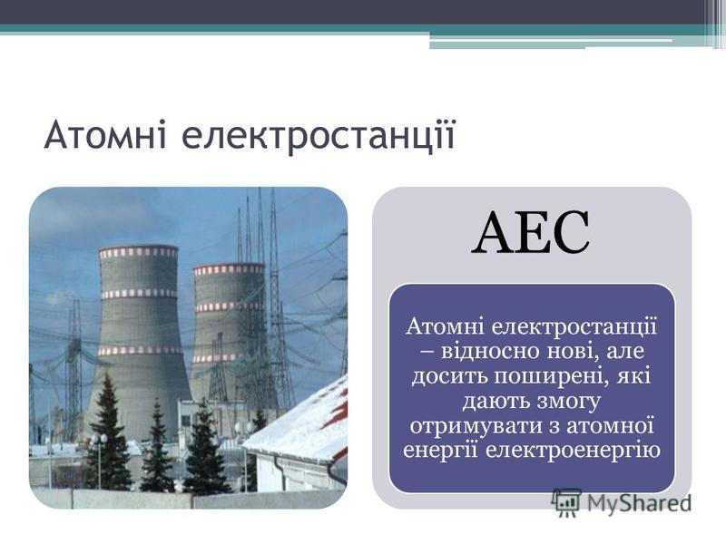 Атомні електростанції АЕС Атомні електростанції – відносно нові, але досить поширені, які дають змогу отримувати з атомної енергії електроенергію