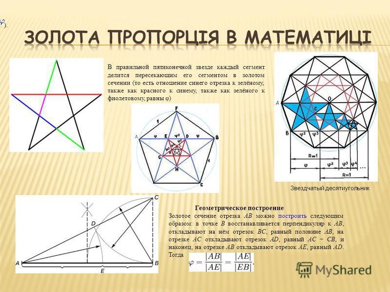 В правильной пятиконечной звезде каждый сегмент делится пересекающим его сегментом в золотом сечении (то есть отношение синего отрезка к зелёному, также как красного к синему, также как зелёного к фиолетовому, равны φ) ). Звездчатый десятиугольник Ге
