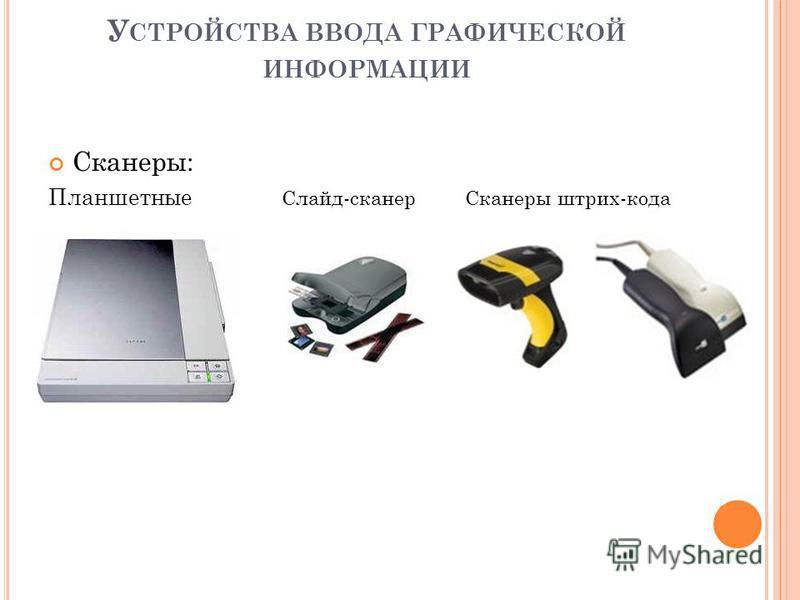 У СТРОЙСТВА ВВОДА ГРАФИЧЕСКОЙ ИНФОРМАЦИИ Сканеры: Планшетные Слайд-сканер Сканеры штрих-кода
