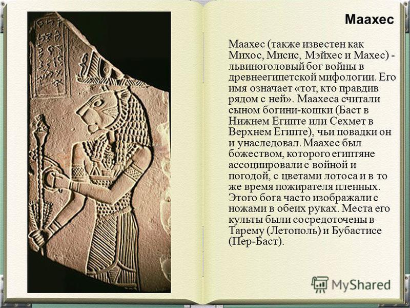 Маахес (также известен как Михос, Мисис, Мэйхес и Махес) - львиноголовый бог войны в древнеегипетской мифологии. Его имя означает «тот, кто правдив рядом с ней». Маахеса считали сыном богини-кошки (Баст в Нижнем Египте или Сехмет в Верхнем Египте), ч