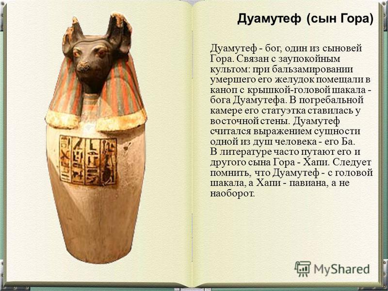 Дуамутеф - бог, один из сыновей Гора. Связан с заупокойным культом: при бальзамировании умершего его желудок помещали в каноп с крышкой-головой шакала - бога Дуамутефа. В погребальной камере его статуэтка ставилась у восточной стены. Дуамутеф считалс