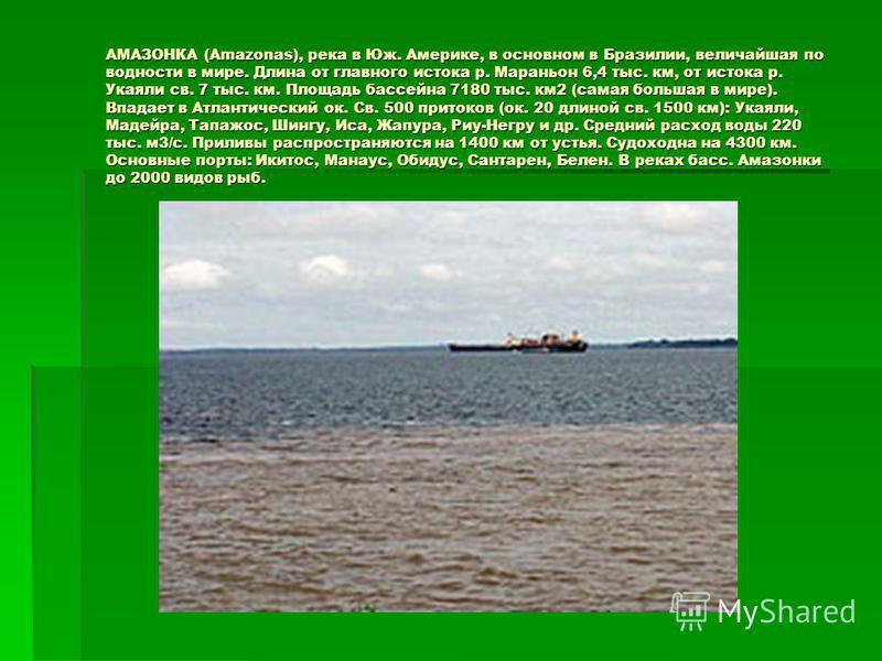 АМАЗОНКА (Amazonas), река в Юж. Америке, в основном в Бразилии, величайшая по водности в мире. Длина от главного истока р. Мараньон 6,4 тыс. км, от истока р. Укаяли св. 7 тыс. км. Площадь бассейна 7180 тыс. км 2 (самая большая в мире). Впадает в Атла