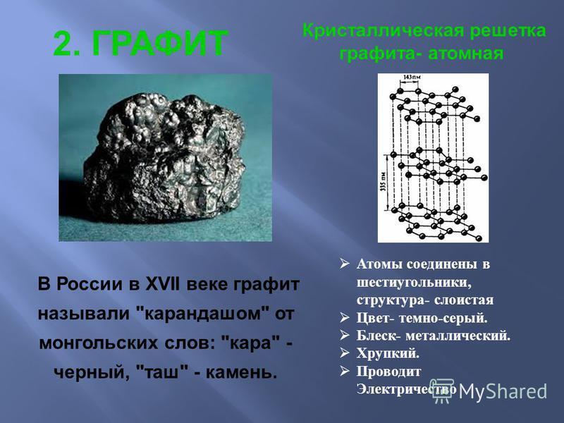 2. ГРАФИТ Кристаллическая решетка графита- атомная В России в XVII веке графит называли