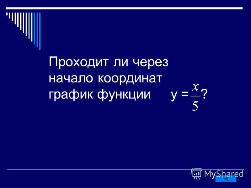 Проходит ли через начало координат график функции у = ?