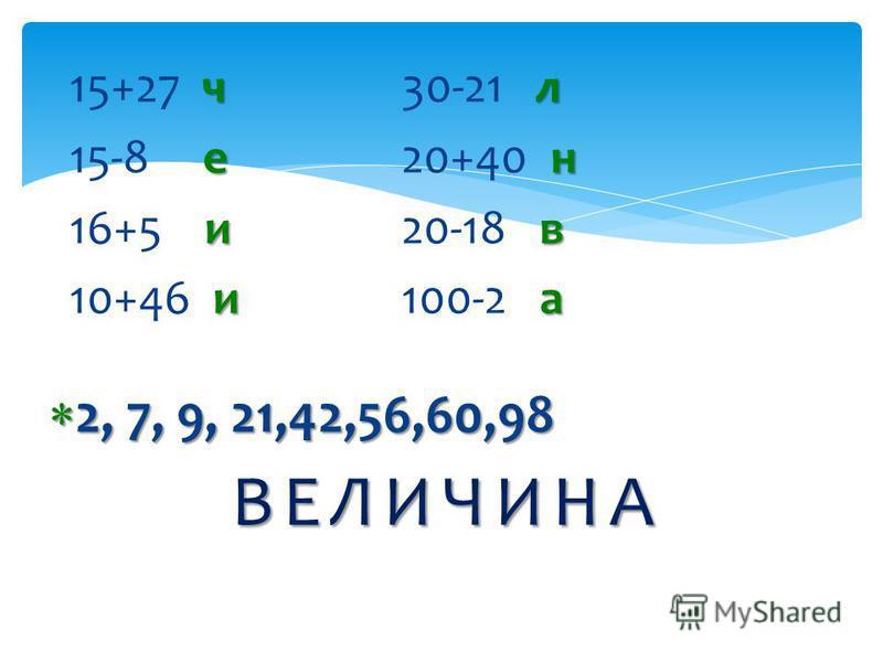 ВЕЛИЧИНА чл 15+27 ч 30-21 лен 15-8 е 20+40 н ив 16+5 и 20-18 в иа 10+46 и 100-2 а 2, 7, 9, 21,42,56,60,98 2, 7, 9, 21,42,56,60,98