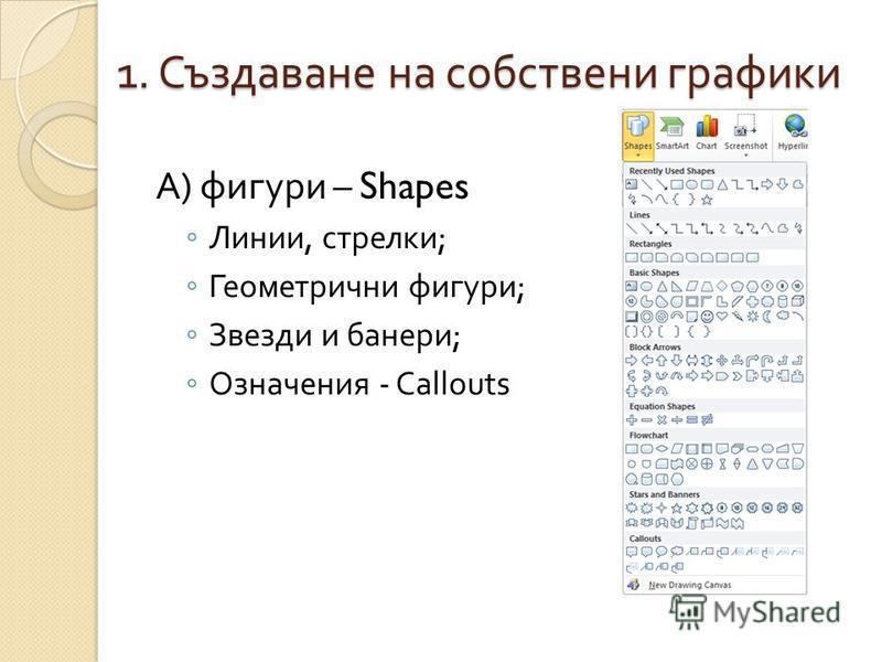 1. Създаване на собствени графики А ) фигури – Shapes Линии, стрелки ; Геометрични фигури ; Звезди и банери ; Означения - Callouts