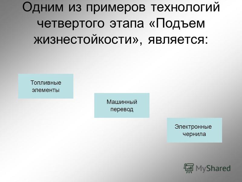 Одним из примеров технологий четвертого этапа «Подъем жизнестойкости», является: Топливные элементы Машинный перевод Электронные чернила