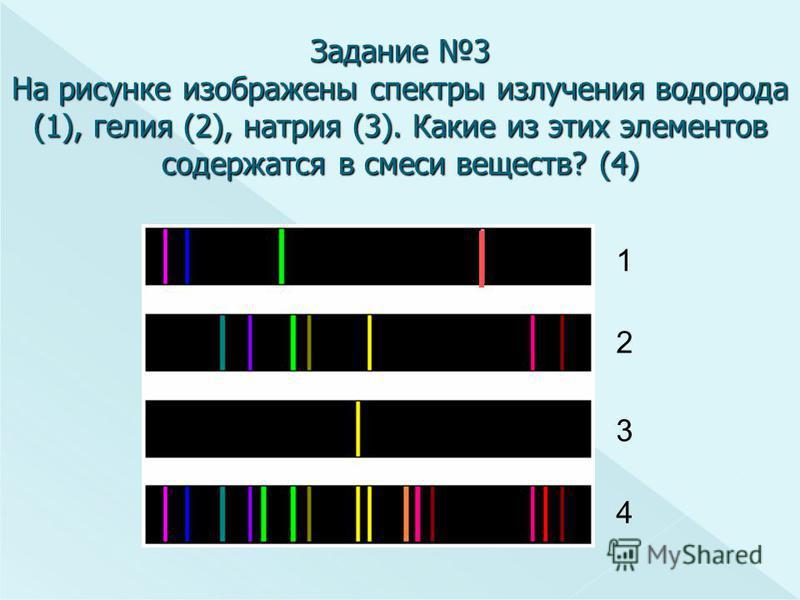 Задание 3 На рисунке изображены спектры излучения водорода (1), гелия (2), натрия (3). Какие из этих элементов содержатся в смеси веществ? (4) 1 2 3 4