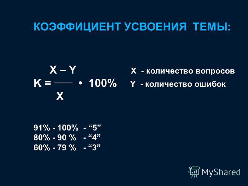 КОЭФФИЦИЕНТ УСВОЕНИЯ ТЕМЫ: X – Y X - количество вопросов K = 100% Y - количество ошибок X 91% - 100% - 5 80% - 90 % - 4 60% - 79 % - 3