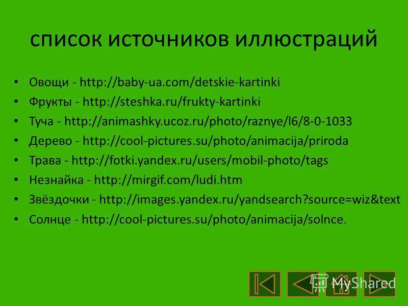 Список источников основного содержания Текст звукового сопровождения авторский.