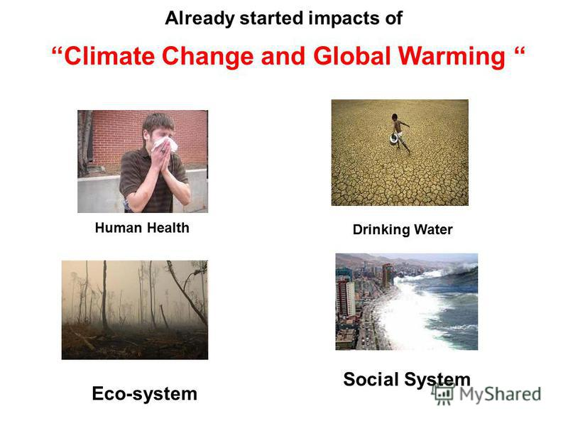 Already started impacts of Climate Change and Global Warming Human Health Drinking Water Eco-system Social System