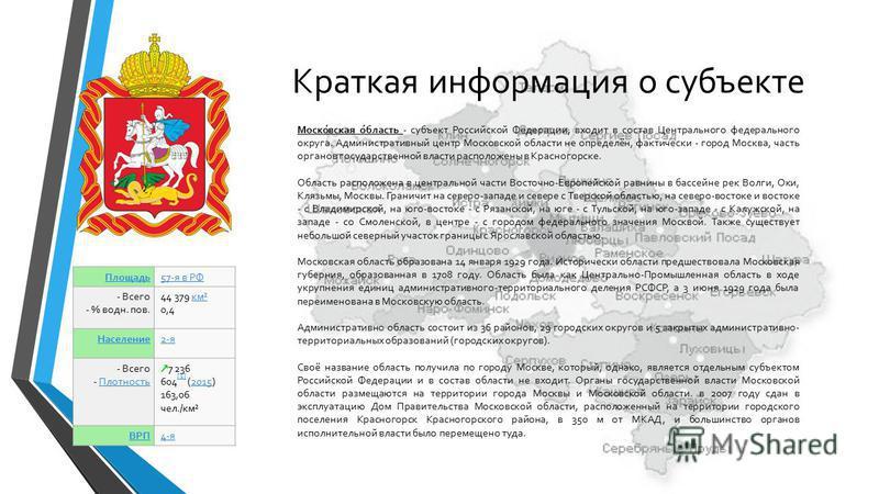 Моско́вская о́область - субъект Российской Федерации, входит в состав Центрального федерального округа. Административный центр Московской области не определён, фактически - город Москва, часть органов государственной власти расположены в Красногорске