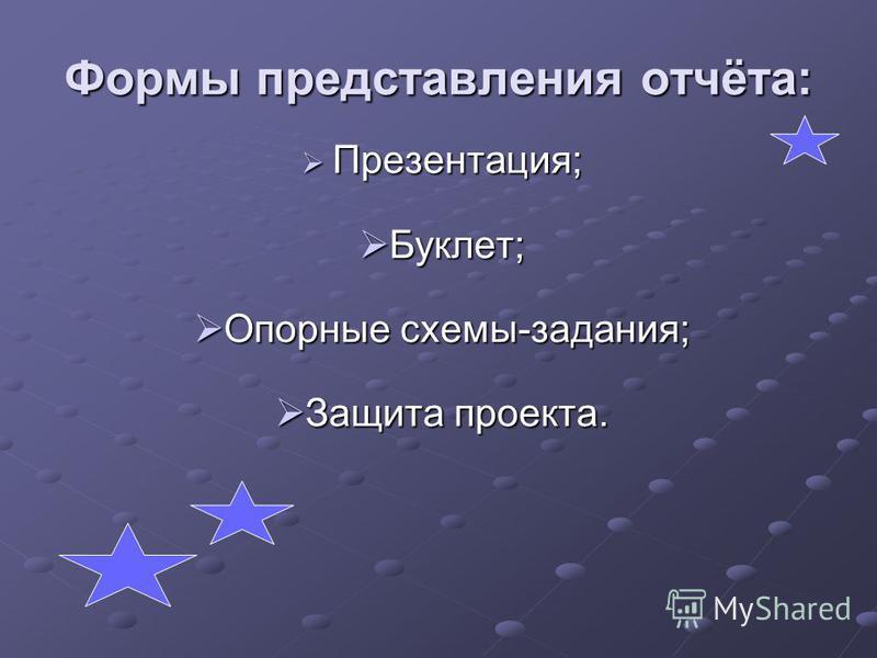 Формы представления отчёта: Презентация; Презентация; Буклет; Буклет; Опорные схемы-задания; Опорные схемы-задания; Защита проекта. Защита проекта.