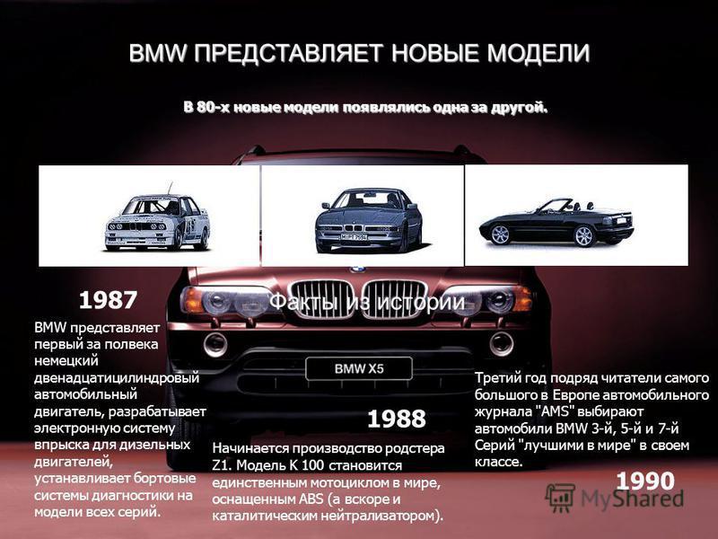 BMW ПРЕДСТАВЛЯЕТ НОВЫЕ МОДЕЛИ В 80-х новые модели появлялись одна за другой. BMW представляет первый за полвека немецкий двенадцати цилиндровый автомобильный двигатель, разрабатывает электронную систему впрыска для дизельных двигателей, устанавливает