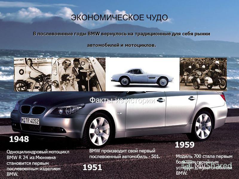 ЭКОНОМИЧЕСКОЕ ЧУДО В послевоенные годы BMW вернулось на традиционные для себя рынки автомобилей и мотоциклов. Одноцилиндровый мотоцикл BMW R 24 из Мюнхена становится первым послевоенным изделием BMW. BMW производит свой первый послевоенный автомобиль